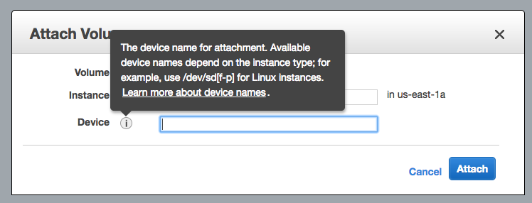 Attach volume dialog